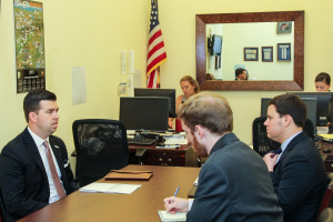 Brett Lemcke meeting with staff during Legislative Day on the Hill