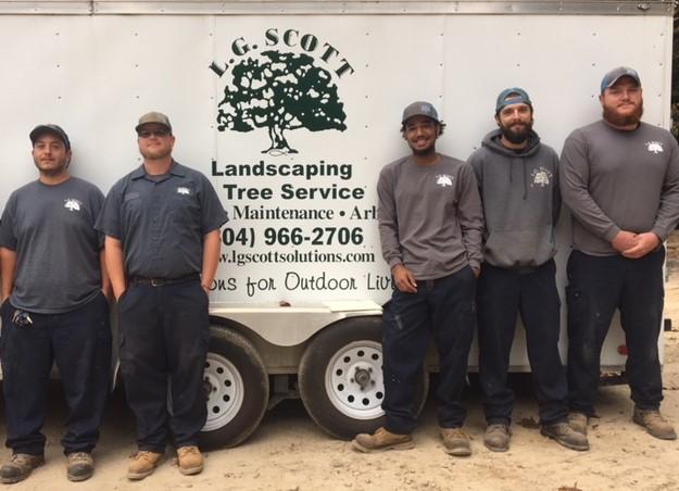 L.G. Scott crew in front of hardscape